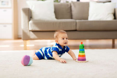 Photo for sweet little asian baby boy with toys at home - Royalty Free Image