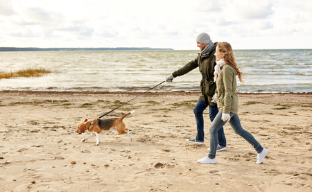 Photo pour happy couple with beagle dog on autumn beach - image libre de droit
