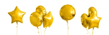 Photo pour many metallic gold helium balloons on white - image libre de droit