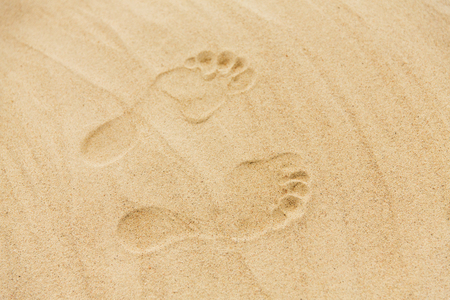 Foto de footprints in sand on summer beach - Imagen libre de derechos
