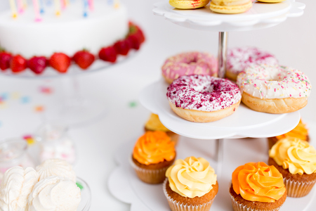Photo for food and drinks on table at birthday party - Royalty Free Image