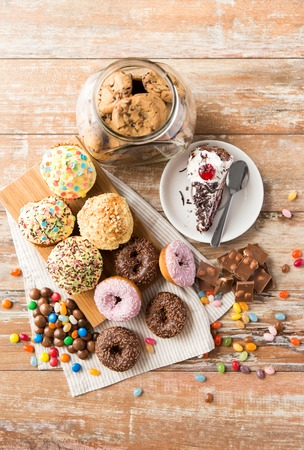Photo for close up of different sweets on table - Royalty Free Image