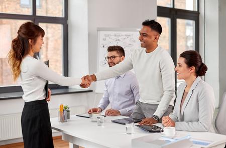 Photo pour Recruiters having job interview with employee - image libre de droit