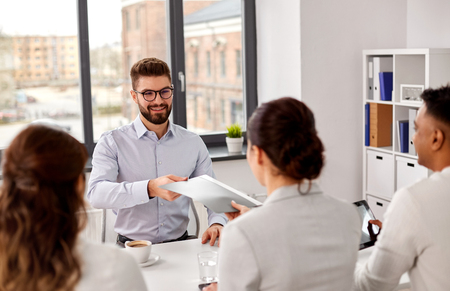 Photo for male employee having job interview with recruiters - Royalty Free Image
