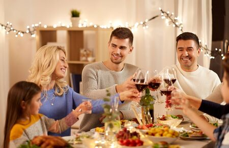 Photo for happy family having dinner party at home - Royalty Free Image