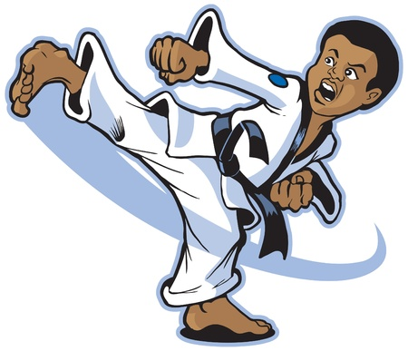 Illustration pour Vector cartoon of a young African boy martial artist executing a spinning back kick. - image libre de droit