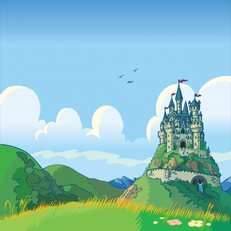 Illustration pour Vector cartoon illustration of a fantasy background with rolling green hills and a castle in the distance. - image libre de droit