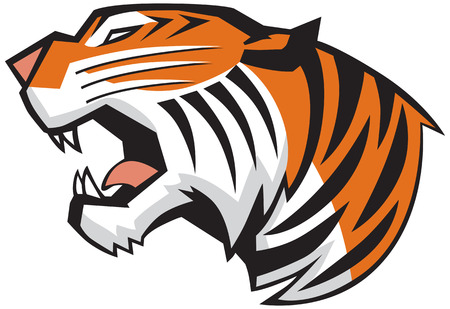 Ilustración de Vector Cartoon Clip Art Illustration of a roaring tiger head in a side view, rendered in a graphic style - Imagen libre de derechos