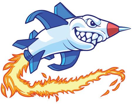 Ilustración de cartoon clip art illustration of an anthropomorphic rocket or missile mascot with a shark mouth.  - Imagen libre de derechos