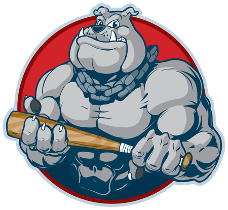 Illustrazione per Vector cartoon clip art illustration of a tough mean muscular bulldog mascot with a chain around its neck holding a bat manacingly. designed as a bust inside a circle. - Immagini Royalty Free