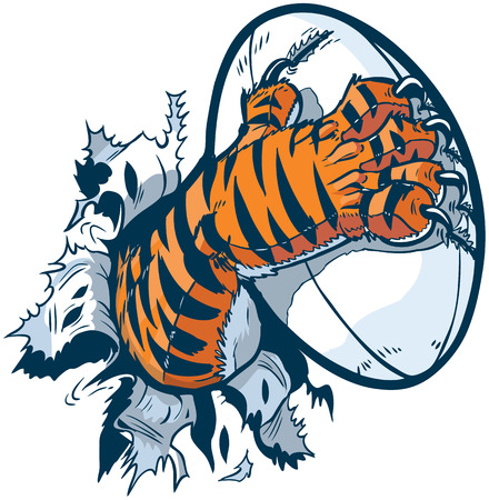 Illustration for Vector cartoon clip art illustration of a tiger mascot paw ripping out of the background gripping a rugby ball and tearing it with its claws. - Royalty Free Image