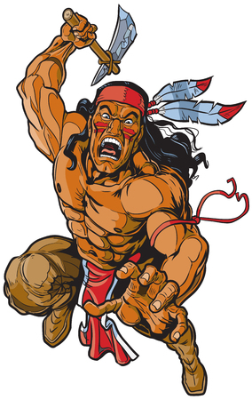 Illustration for Vector cartoon clip art illustration of an Apache Native American warrior or brave leaping toward the viewer and attacking with a tomahawk. - Royalty Free Image