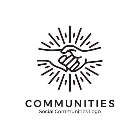 Illustration pour logo holding hands. community logo with monoline style - image libre de droit