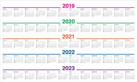 Illustration pour Year 2019 2020 2021 2022 2023 calendar vector design template, simple and clean design - image libre de droit