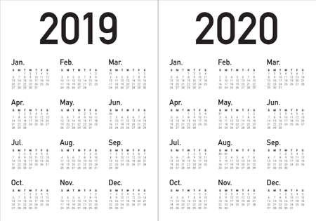 Illustration pour Year 2019 2020 calendar vector design template, simple and clean design - image libre de droit