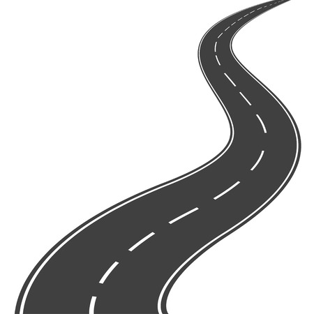 Illustration for Winding asphalt road with markings leading into the distance on a white background.  - Royalty Free Image
