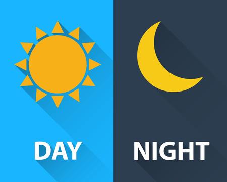 Illustration pour day and night illustration flat design - image libre de droit