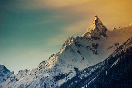Photo pour Winter mountains panorama with ski slopes. Caucasus - image libre de droit