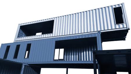 Foto de Container living house isolated on white background. - Imagen libre de derechos