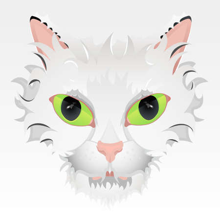 Vector illustration of a cute cat face with big green eyes and stylized hair. Highly detailed.