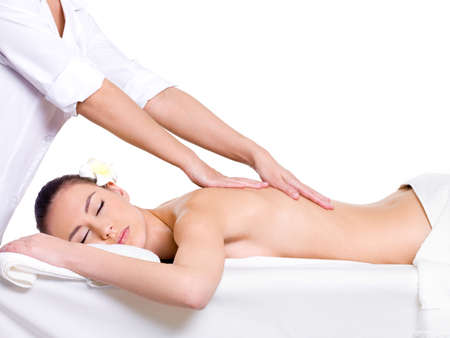 Spa massage for beautiful pretty woman - isolated on white background - Beauty treatment therapy