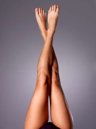 Beautiful long slender female legs after dilapidation.