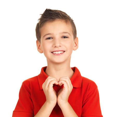Photo for Portrait of happy boy with a heart shape isolated on white background - Royalty Free Image