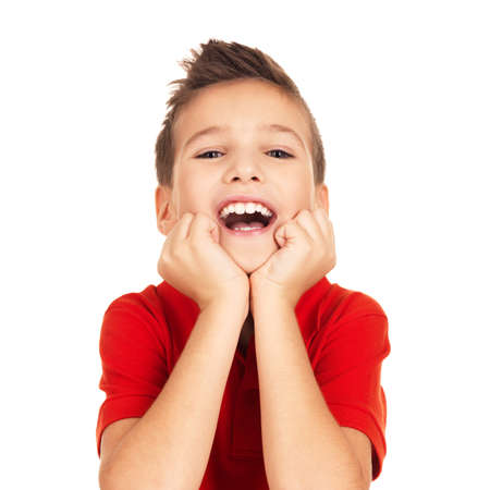 Portrait of  laughing happy boy looking at camera isolated on white background