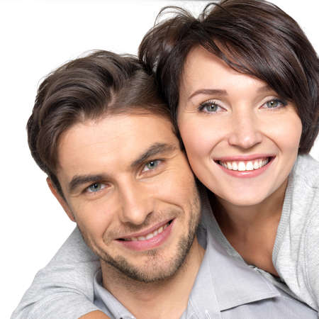Photo for Closeup portrait of  beautiful happy couple isolated on white background. Attractive man and woman being playful. - Royalty Free Image