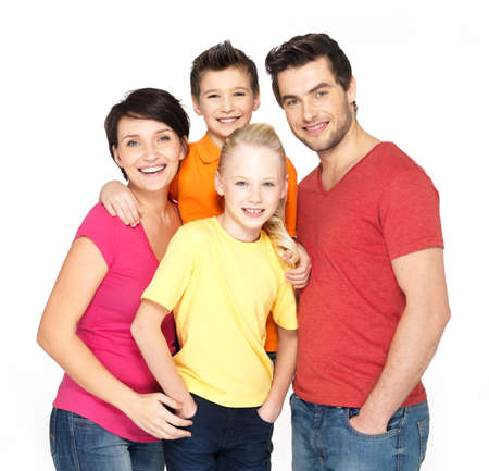 Foto de Photo of the happy young family with two children isolated on white background - Imagen libre de derechos