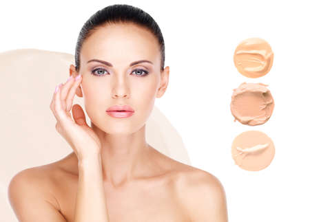 Photo pour Model face of beautiful woman with foundation on skin make-up cosmetics .   - image libre de droit
