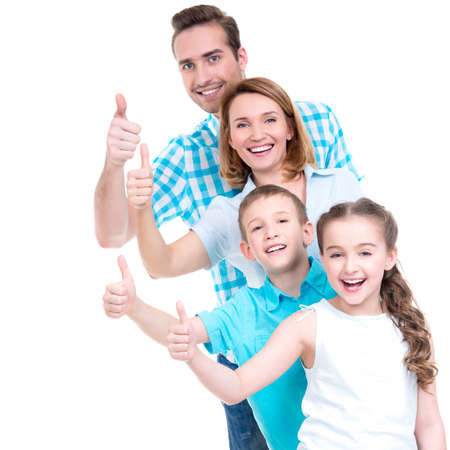 Photo for Portrait of the happy european family with children shows the thumbs up sign -  isolated on white background - Royalty Free Image