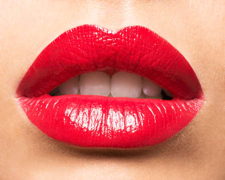 Photo for Woman's lips with red lipstick. Glamour fashion bright gloss make-up. - Royalty Free Image