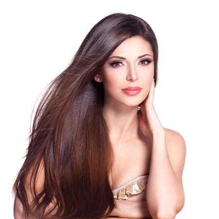 Photo pour Portrait of a beautiful white pretty woman with long straight hair - image libre de droit