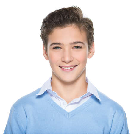 Photo pour Photo of adorable teenage young happy boy looking at camera. - image libre de droit