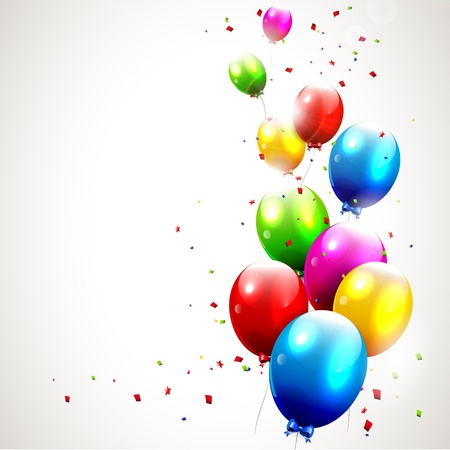 Illustration pour Modern birthday background with colorful balloons - image libre de droit
