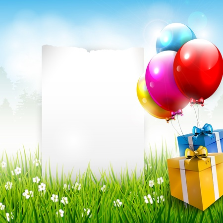 Illustration pour Realistic colorful birthday background with place for text - image libre de droit