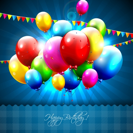Illustration pour Colorful birthday balloons on blue background - image libre de droit