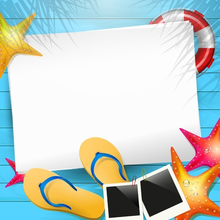 Illustration for Summer background with flip-flops,photoframe and empty paper - Royalty Free Image