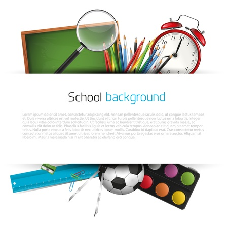 Foto de School supplies on white background with place for text - Imagen libre de derechos