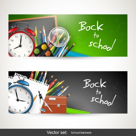 Foto für Set of two banners with school supplies - Lizenzfreies Bild