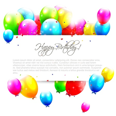 Illustration pour Birthday balloons on isolated background with place for text - image libre de droit