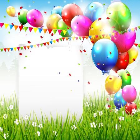 Illustration pour Flying balloons and paper with copyspace - image libre de droit