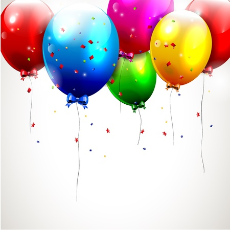 Illustration pour Colorful birthday background with flying balloons - image libre de droit