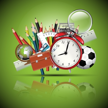 Foto für School supplies - green glossy background - Lizenzfreies Bild