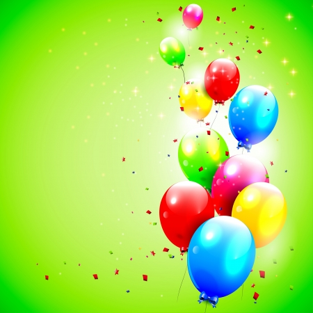 Illustration pour Birthday background with flying balloons  - image libre de droit