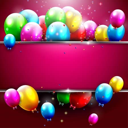 Illustration for Luxury birthday background with colorful balloons and copyspace - Royalty Free Image