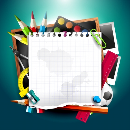Photo for Modern school background with school supplies and empty paper  - Royalty Free Image