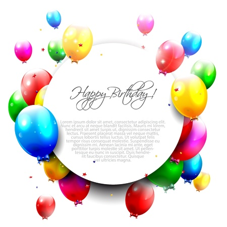 Illustration pour Birthday balloons on isolated background and place for text  - image libre de droit