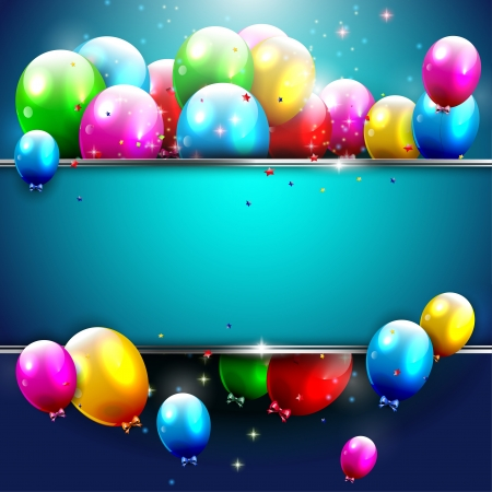 Illustration pour Luxury birthday background with colorful balloons and copyspace - image libre de droit